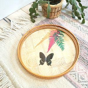 Bamboo Boho tray / fern butterfly lace vintage